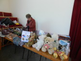 Joan Butcher preparing her stall for Pymoor Methodist Chapel Christmas Bazaar 2015