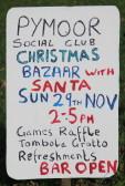 A Notice advertising the Pymoor Cricket Club Christmas Bazaar, 2015.