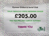A Certificate from MacMillan Cancer Support for the Fund Raising Day that was held at the Pymoor Cricket and Social Club on Wednesday 16th September 2015.
