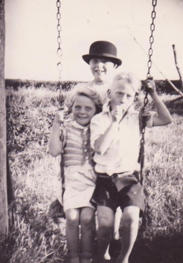 Linda and Barry Porter with Roger Barker of Pymoor, circa 1954