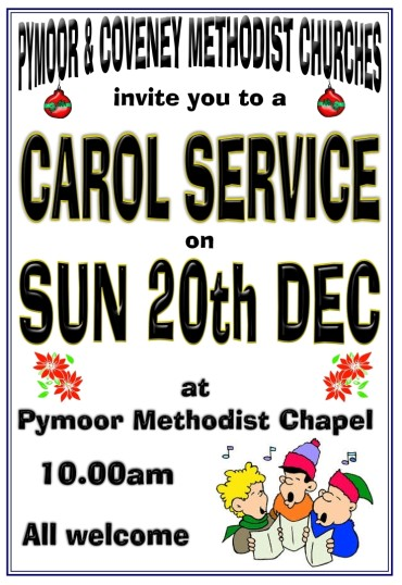A Village Carol Service was held at the Pymoor Methodist Chapel in Main Street, on Sunday 20th December 2015.