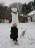 Laura Butcher with her Snowman in Pymoor 2009