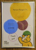 Pymoor Rangers FC raised £319.90 for the BBC Children in Need Appeal 2012.