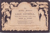 Funeral Card of Lucy Lythell of Pymoor, who passed away on the 13th October 1895, aged 75 years.