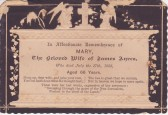Funeral Card of Mary Ayres of Pymoor, who passed away on the 17th July 1888, aged 66 years.