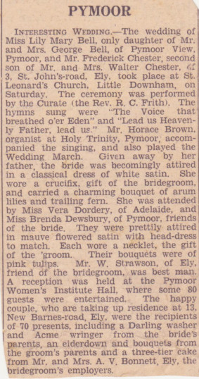 The Wedding of Fred Chester and Lily Bell of Pymoor,1940.
