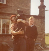 Roger Parson and Tyrone Butcher with Sally outside Laurel Farm, circa 1965