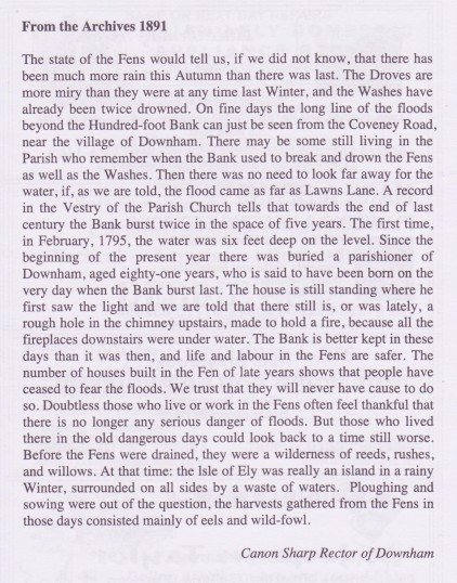 Extract from the Little Downham Parish Archives 1891 about flooding in the Fens.