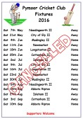 Pymoor Cricket Club Fixture List 2016