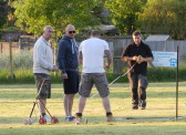 Preparing the Cricket Square for Pymoor CC's first home game of the season, 2016