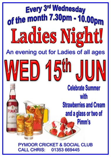 The Ladies of Pymoor and their friends celebrated summer with Strawberries and Cream and a glass or two of Pimm's at the Pymoor Cricket and Social Club.  June 2016