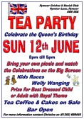A Tea Party at the Pymoor Cricket Club on Sunday 12th June to celebrate the Queen's Official 90th Birthday. 2016
