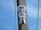 Device on an electricity pole, Hundred Foot Bank, Pymoor, 2013