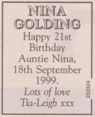Nina Golding of Pymoor, celebrated her 21st Birthday today, 1999