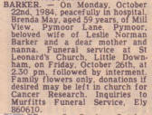 Brenda May Barker of Pymoor, passed away on 22nd October 1984 aged 59 years.