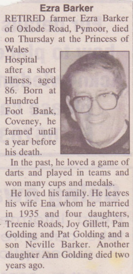 Ezra Barker of Pymoor, passed away on 3rd July 1997 aged 86 years.