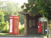 Telephone Box, Bus Shelter and Post Box on Pymoor Hill, Pymoor, 2016