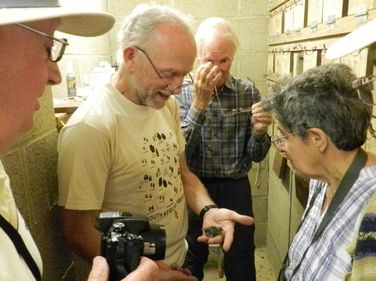 Dr Tony Martin shows members of the Pymoor Community Archive Group a Sand Martin chick in Dunkirk, near Pymoor, 2016