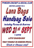 Ladies welcome at a Lana Bags Handbag Sale at the Pymoor Cricket and Social Club on Wednesday 21st September 2016. (See Poster for details)