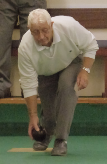 Alan Butcher of Pymoor, playing Bowls at the City of Ely Bowls Club, 2016