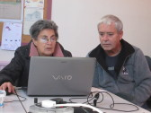 Julia Strong and Bill Dennis at work on the Pymoor Community Archives, 2016