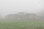 Pymoor Cricket Club on a foggy October morning, 2016