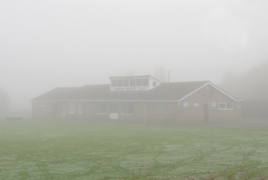 Pymoor Cricket Club on a foggy October morning, 2016