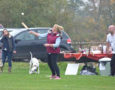 Emma Ure playing rounders on the Pymoor Cricket Club ground, 2016