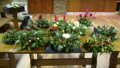 It was Ladies Night at the Pymoor Cricket and Social Club and with the help and guidance of Pam Golding the ladies of Pymoor and their friends made these beautiful Christmas table decorations, Nov 2016