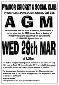 The Annual General Meeting of the Pymoor Cricket and Social Club will be held on Wednesday 29th March at 7pm. (See poster for details)