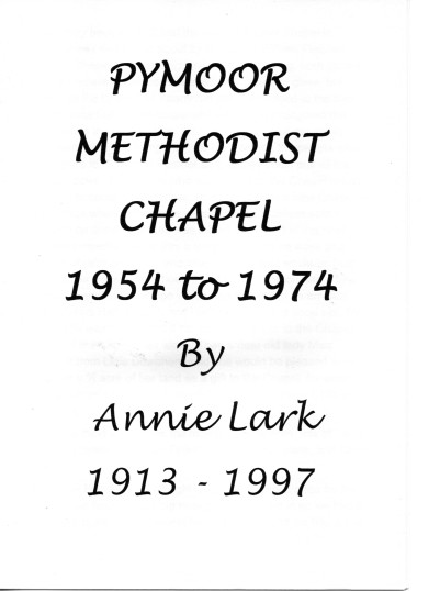 Pymoor Methodist Chapel 1954 to 1974 by Annie Lark