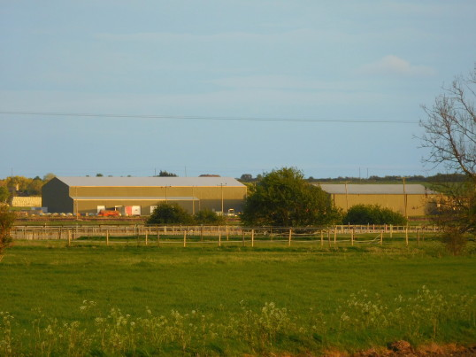 Willow Farm and the Corkers Crisp Factory, seen from Pymoor Lane, Pymoor, 2017