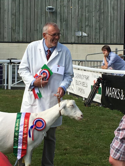 Chris Nye, with one of his prize winning goats at the Royal Welsh Show, 2017