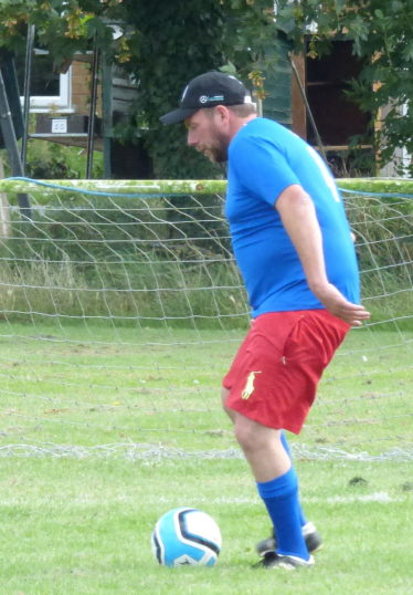 Tony Ure playing in the 5 aside football tournament held at the Pymoor Cricket Club in memory of his son, Jack, 2017