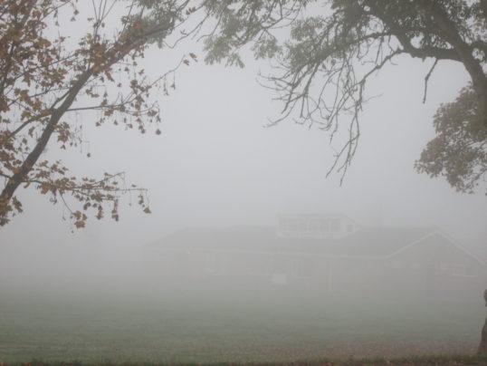 Pymoor Cricket Club on a foggy autumn morning, 2017