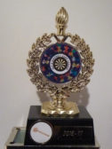 The 'Wooden Spoon' Trophy awarded to the Pymoor Darts Team by the Ely and District Dart League, 2017
