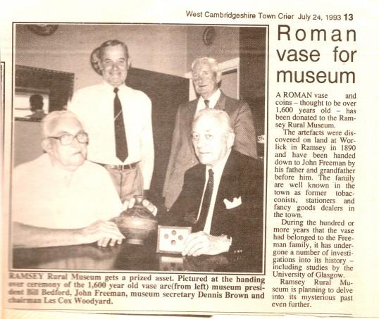 Roman Vase found at Worlick Farm, Ramsey,being presented to Ramsey Rural Museum.