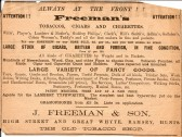 Shop advertisment for J Freemans of High Street and Great Whyte, Ramsey