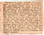 Newspaper report of the wedding of Mary Elizabeth Longland and John Herbert freeman (Snr) at Ramsey Parish Church.