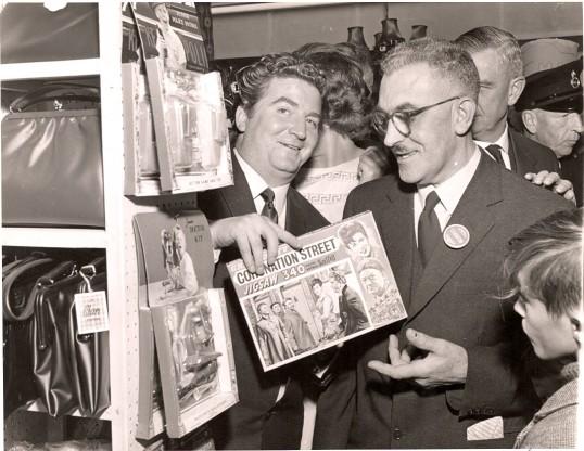 Peter Adamson (Len Fairclough) with John Herbert Freeman (Jnr), at the Ramsey Trdes Fair. Jeffrey Ruston partly hidden behind.
