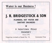 Advertisment for J. R. Bridgestock & Son from the Ramsey Trades Fair programme.