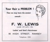 Advertisment for F. W. Lewis from the Ramsey Trades Fair programme.