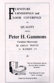 Advertisment for Peter H. Gammons from the Ramsey Trades Fair programme.