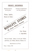 Advertisment for Ridgleys Stores from the Ramsey Trades Fair programme.