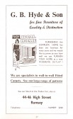 Advertisment for G. B. Hyde & Son from the Ramsey Trades Fair programme.