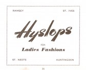 Advertisment for Hyslops from the Ramsey Trades Fair programme.