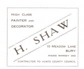 Advertisment for H. Shaw from the Ramsey Trades Fair programme.