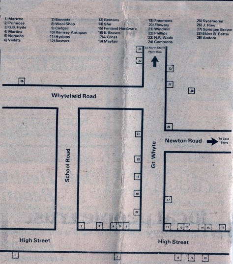 Map showing some of the shops in Ramsey.