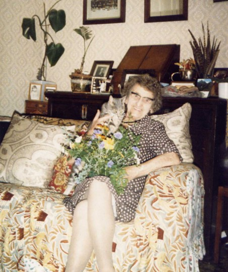 Olive Howes (nee Hales) in her home at Mill Lane, Wistow