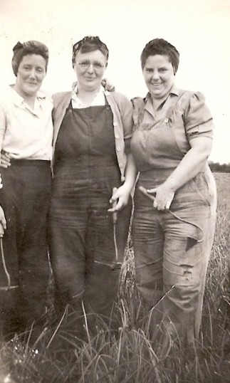 Ivy Petit, Evelyn Taylor and Annie Butler working on the land in Ramsey.